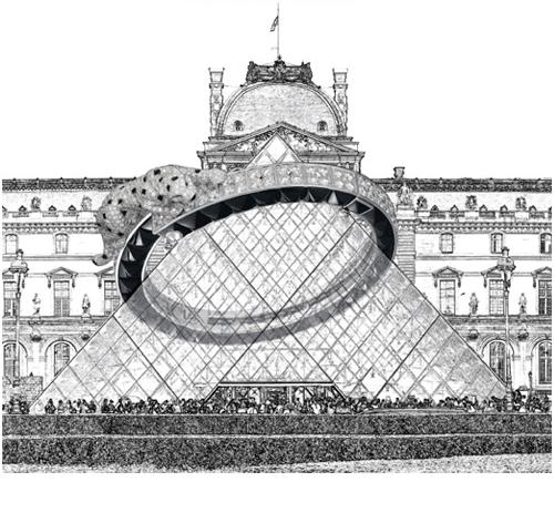 Illustrazione di Diego Cusano piramide del Louvre con anello di Cartier