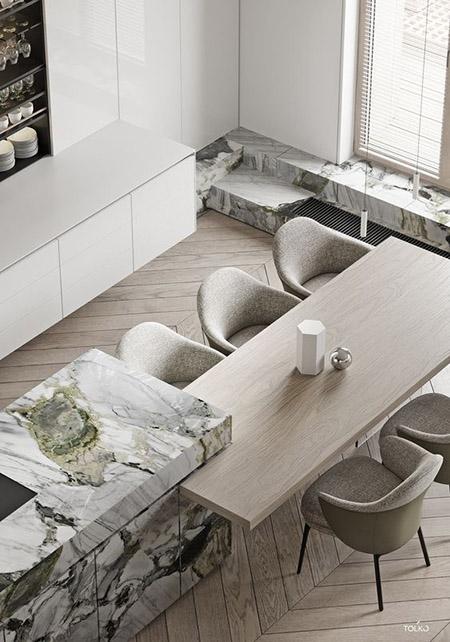 balizroom-interiorblog-marmo verde-cucina-isola con tavolo