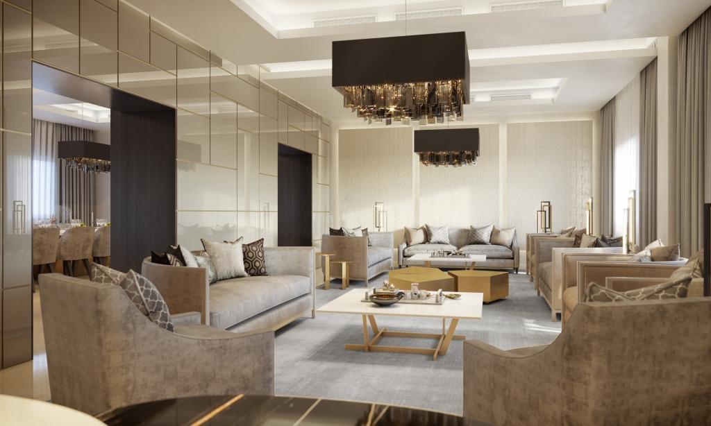 salotto di lusso con divani su misura e boiserie