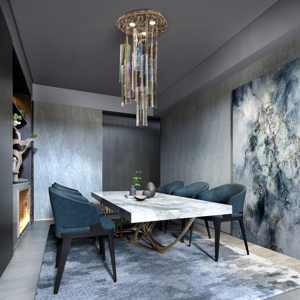 lampadario di lusso per sala da pranzo elegante